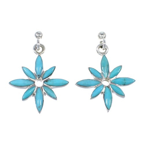 Southwestern Silver And Turquoise Flower Post Dangle Earrings WX57681