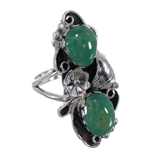 Sterling Silver Flower Turquoise Ring Size 4-3/4 RX60173