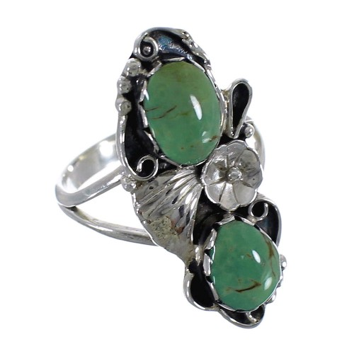 Genuine Sterling Silver And Turquoise Flower Ring Size 7-3/4 RX60186