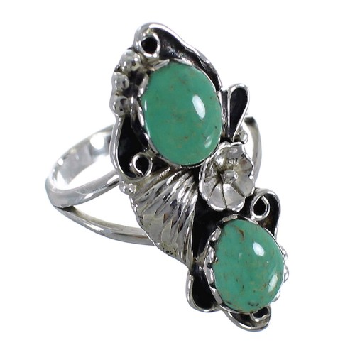 Turquoise And Sterling Silver Flower Ring Size 7-3/4 RX60195