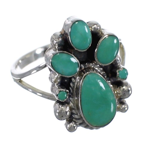 Turquoise Genuine Sterling Silver Southwestern Ring Size 7-1/4 RX60370