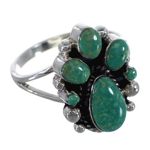 Authentic Sterling Silver Southwestern Turquoise Ring Size 7-3/4 RX60390