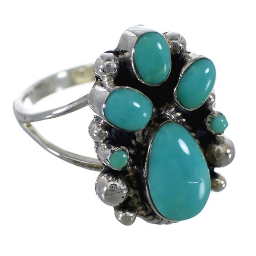Sterling Silver And Turquoise Ring Size 6-1/4 RX60424