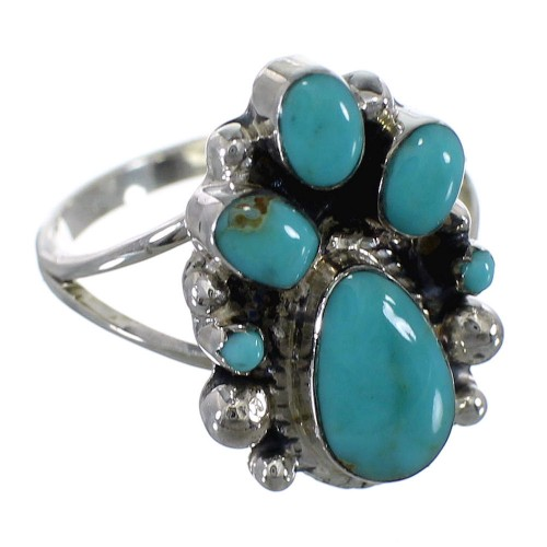 Sterling Silver Southwest Turquoise Ring Size 5-1/4 RX60458