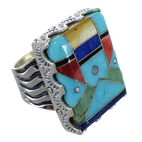 Multicolor And Silver Southwest Ring Size 4-1/2 YX76186