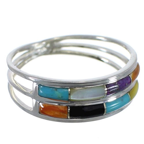Southwestern Sterling Silver Multicolor Inlay Ring Size 7-1/2 QX76037