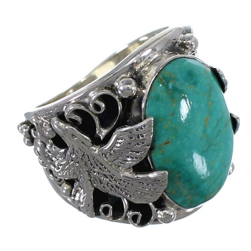 Authentic Sterling Silver Eagle Turquoise Ring Jewelry Size 9-3/4 RX59326