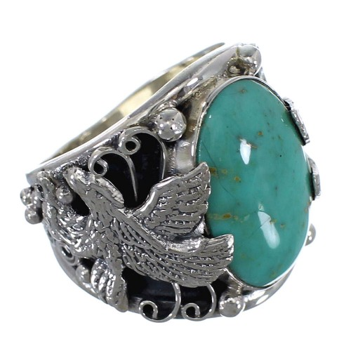 Sterling Silver Southwestern Turquoise Eagle Ring Jewelry Size 9-1/2 RX59338