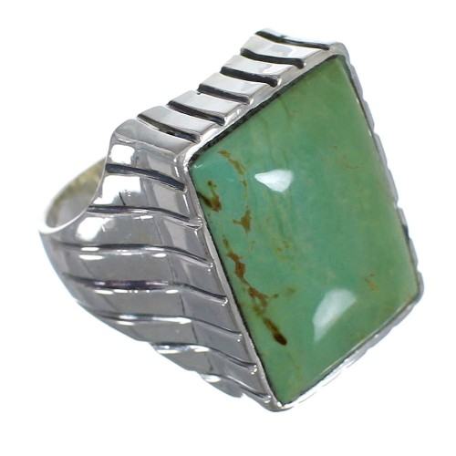 Turquoise And Authentic Sterling Silver Ring Size 8-3/4 RX59486