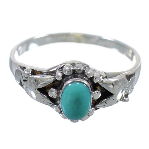 Southwest Turquoise Sterling Silver Ring Size 7-3/4 RX59556