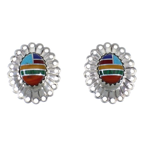 Multicolor Genuine Sterling Silver Concho Earrings EX57633