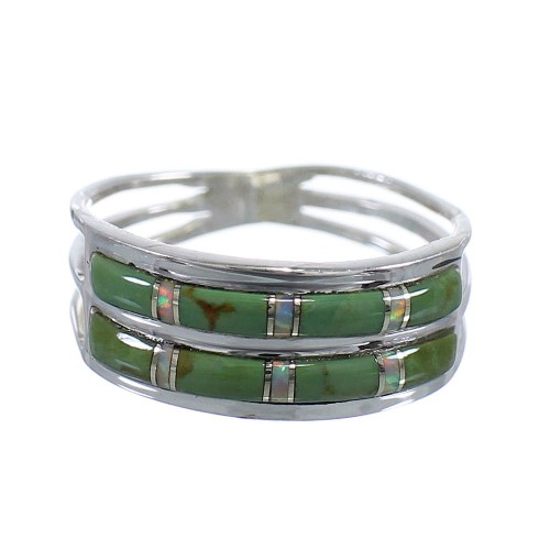 Turquoise Opal Inlay Silver Southwestern Ring Size 5-3/4 QX79520