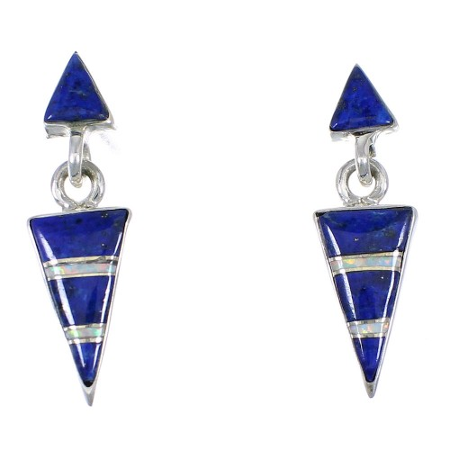 Southwest Lapis And Opal Inlay Silver Post Dangle Earrings WX57795