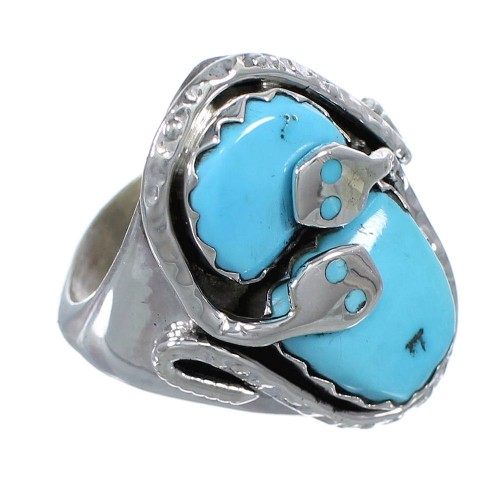 Effie Calavaza Zuni Indian Turquoise Silver Snake Ring Size 11-1/4 EX57985