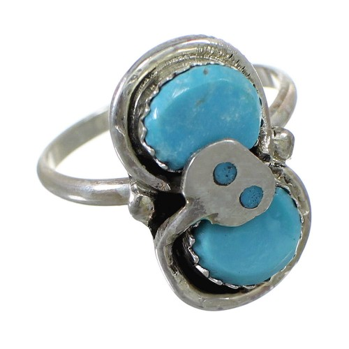 Sterling Silver Zuni Turquoise Effie Calavaza Snake Ring Size 7-1/4 EX57989
