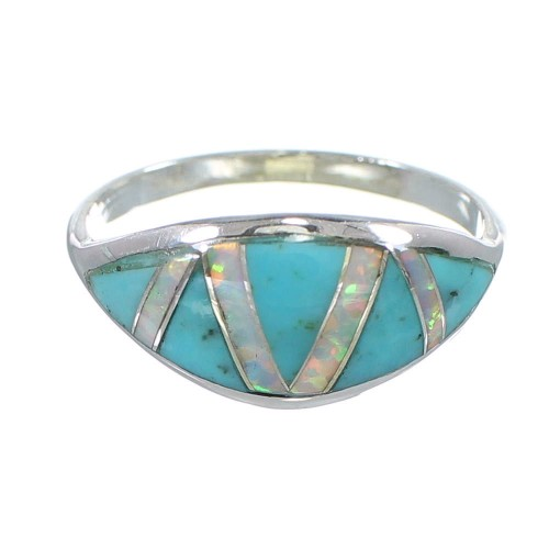 Silver Southwest Turquoise And Opal Inlay Ring Size 5 AX82863