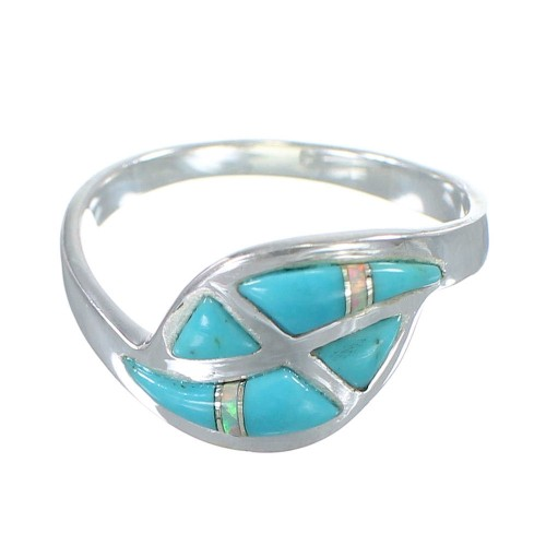 Turquoise And Opal Authentic Sterling Silver Southwestern Ring Size 5-3/4 AX82999