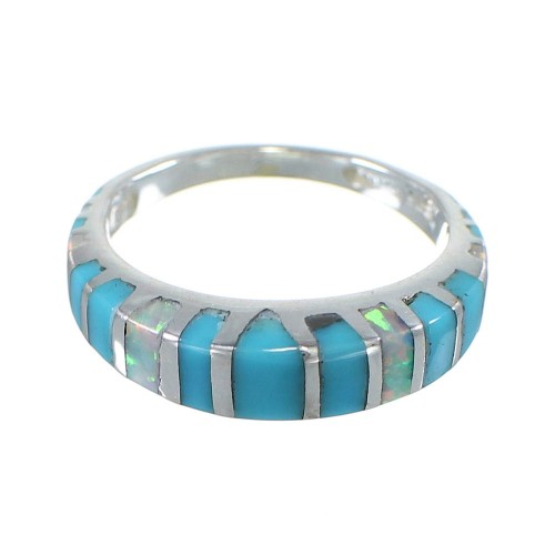 Opal Turquoise Inlay And Sterling Silver Southwestern Ring Size 4-1/2 AX83041