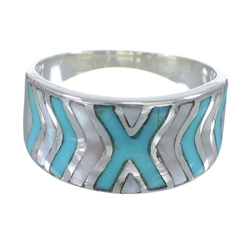Sterling Silver Turquoise And Mother Of Pearl Inlay Ring Size 5-1/4 AX83246