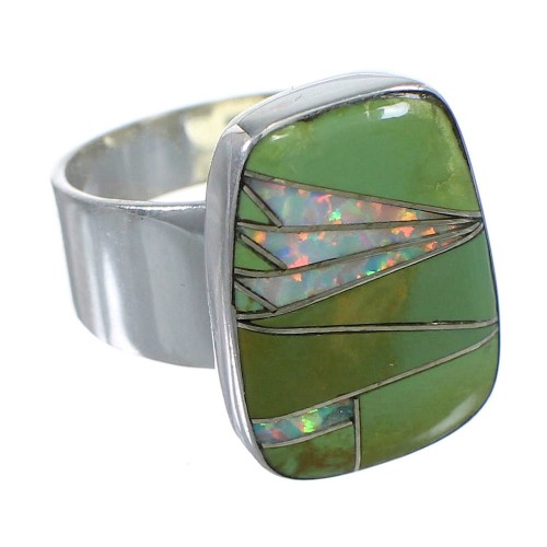Turquoise And Opal Sterling Silver Ring Size 7-1/2 AX83261