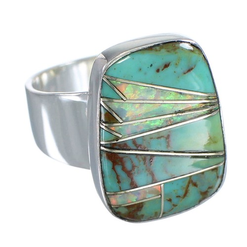 Silver Turquoise And Opal Southwest Jewelry Ring Size 6-3/4 AX83296