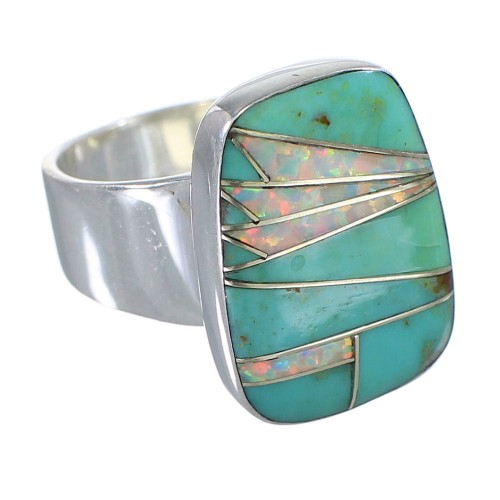 Silver Jewelry Southwestern Turquoise And Opal Inlay Ring Size 7-1/2 AX83328