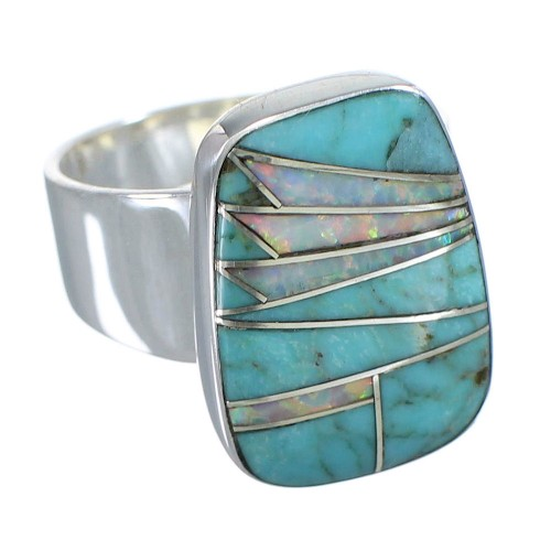 Southwest Silver Turquoise And Opal Inlay Ring Size 4-1/2 AX83339