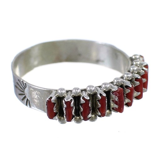 Zuni Indian Coral Needlepoint Silver Ring Size 6-1/4 EX58524
