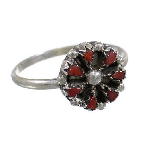 Coral Zuni Indian Genuine Sterling Silver Ring Size 5-3/4 EX58529