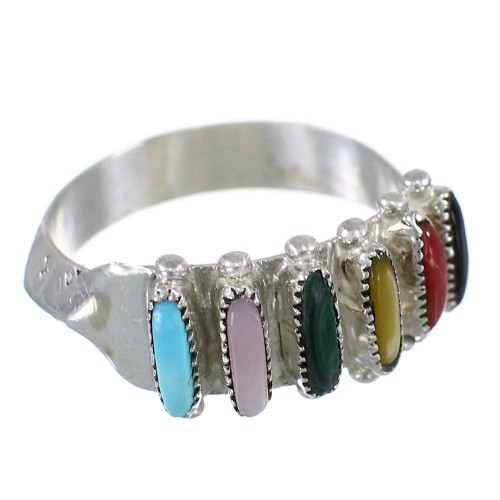 Navajo Multicolor Needlepoint Sterling Silver Ring Size 8-3/4 EX59409