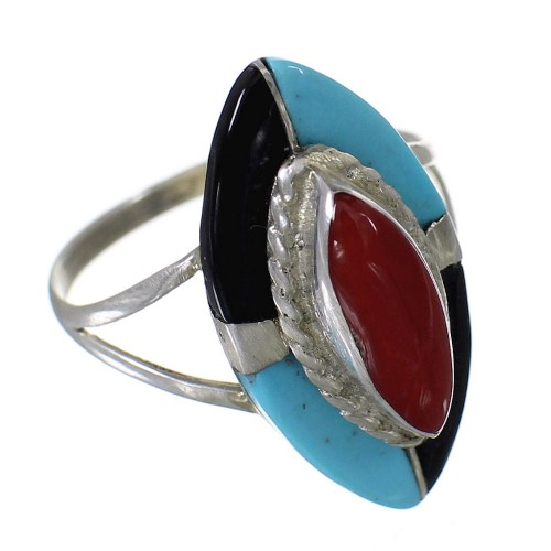 Zuni Indian Multicolor Genuine Sterling Silver Ring Size 6-1/2 EX59500