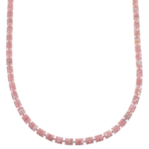 Rhodochrosite Navajo Indian Sterling Silver Bead Necklace WX59815