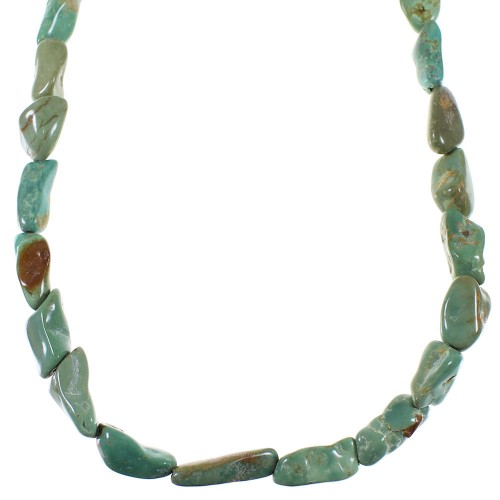 Turquoise Southwest Authentic Sterling Silver Bead Necklace WX59308