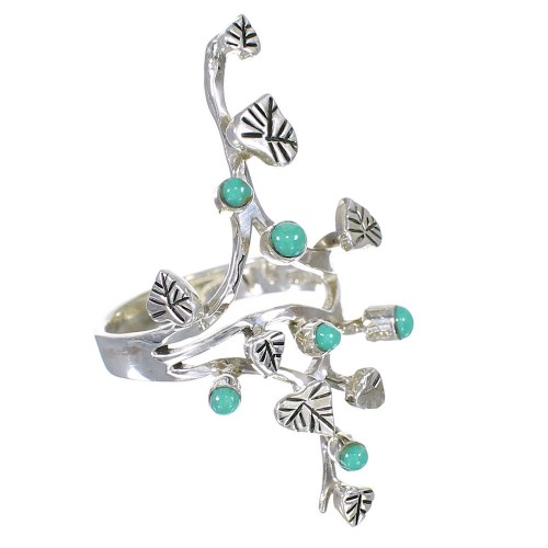 Authentic Sterling Silver Turquoise Ring Size 6-3/4 VX62289