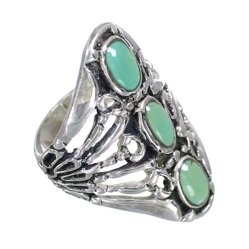 Silver And Turquoise Ring Size 7-1/4 VX62393