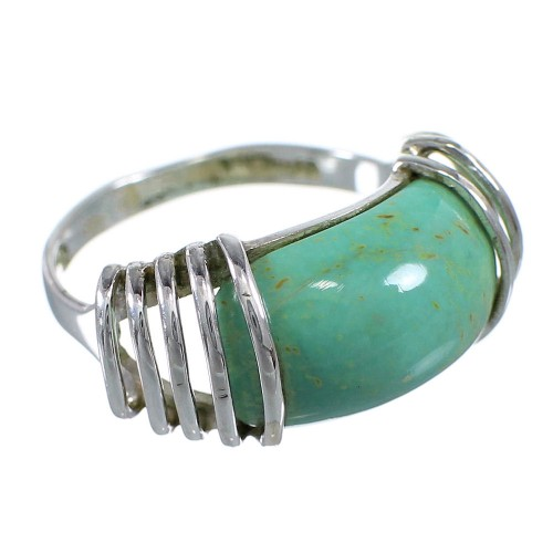 Sterling Silver Southwest Turquoise Ring Size 7 RX80971