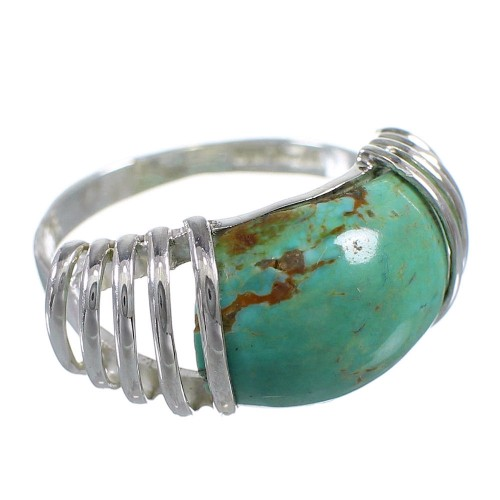 Southwest Genuine Sterling Silver Turquoise Ring Size 6-3/4 RX80993