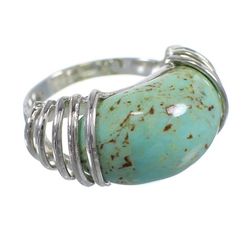 Genuine Sterling Silver Southwest Turquoise Ring Size 5-1/4 RX80998
