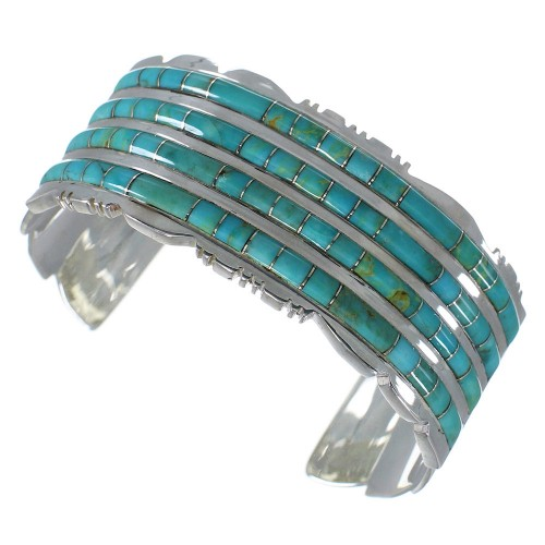 Southwest Authentic Sterling Silver Turquoise Sturdy Bracelet VX60941