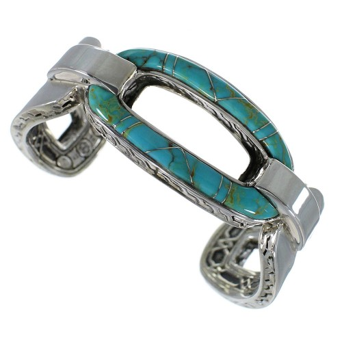 Substantial Southwest Silver And Turquoise Cuff Bracelet Jewelry VX60977