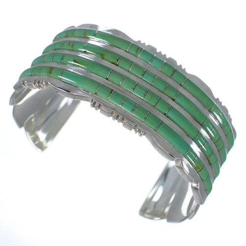 Southwest Sterling Silver Turquoise Well-Built Bracelet VX60733