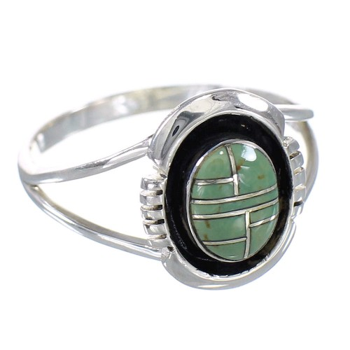 Sterling Silver And Turquoise Inlay Ring Size 7-3/4 RX60128