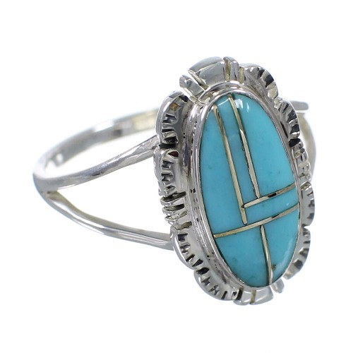 Sterling Silver Southwest Turquoise Ring Size 7-1/4 MX59937
