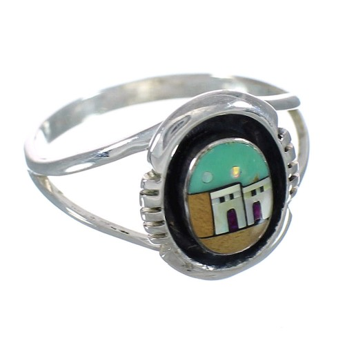 Native American Village Design Multicolor Silver Southwest Ring Size 5-3/4 YX77815