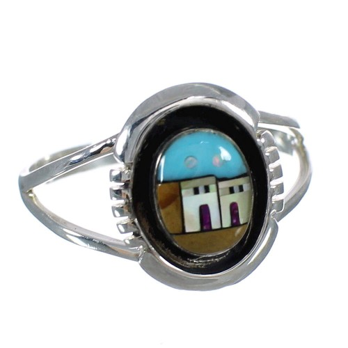 Native American Village Design Southwestern Sterling Silver Multicolor Ring Size 6-1/2 YX77871