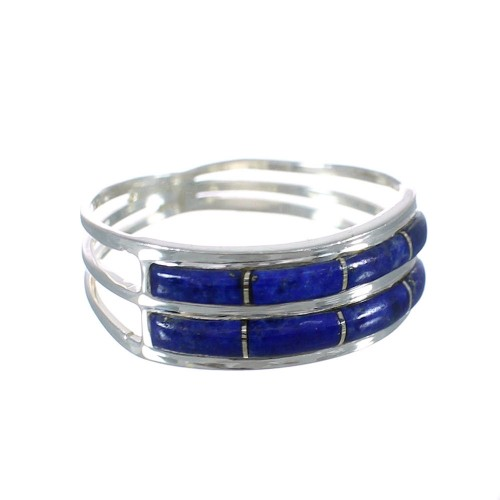 Southwestern Lapis Inlay And Genuine Sterling Silver Ring Size 7-1/4 WX60998