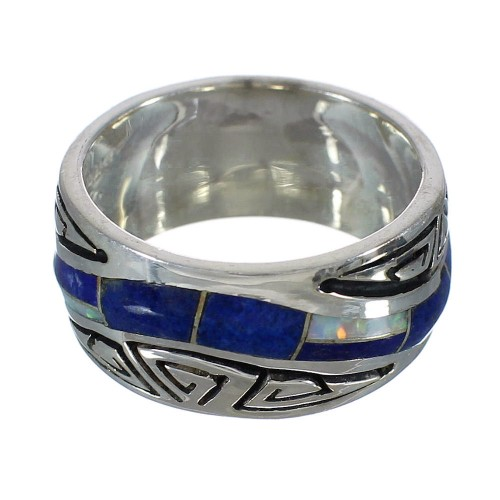 Lapis And Opal Inlay Water Wave Southwest Silver Ring Size 6-1/4 WX61053