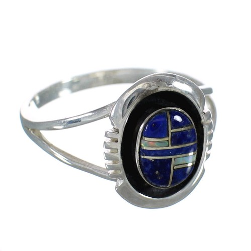 Lapis And Opal Inlay Southwest Sterling Silver Ring Size 5-1/4 WX61073
