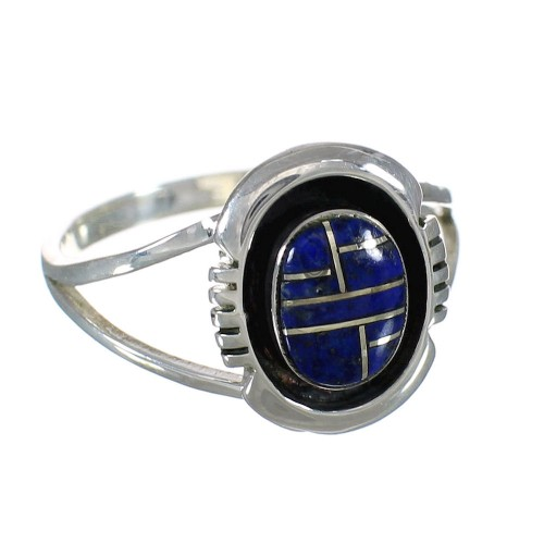 Southwestern Lapis Inlay And Genuine Sterling Silver Ring Size 5-3/4 WX61125
