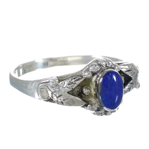 Lapis And Genuine Sterling Silver Southwestern Leaf Ring Size 6-3/4 WX61864